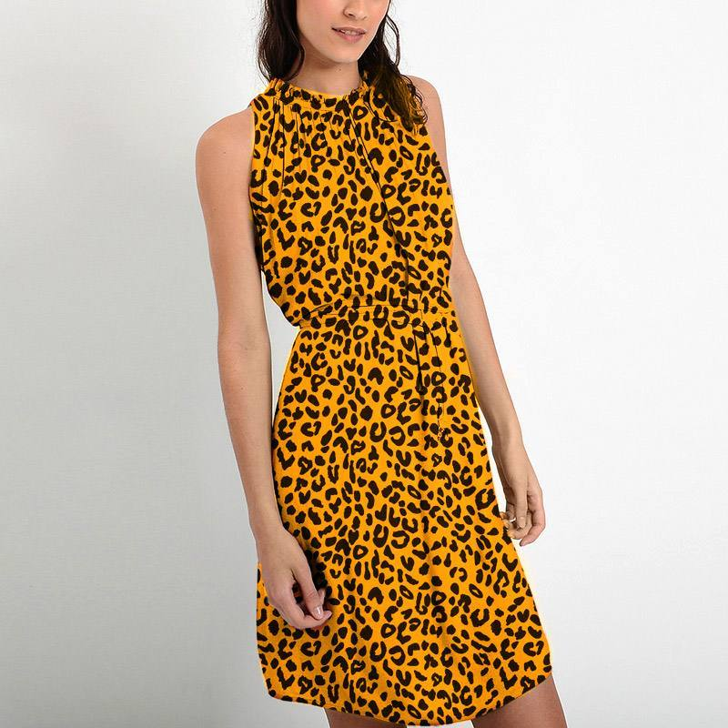 Mousseline crêpe jaune imprimée léopard