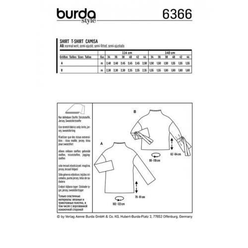 Patron Burda 6366 : T-shirt Taille : 34-44