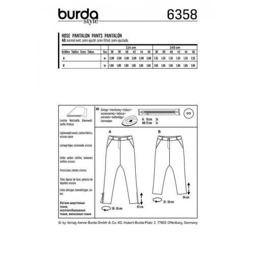 Patron Burda 6358 : Pantalon Taille : 36-46