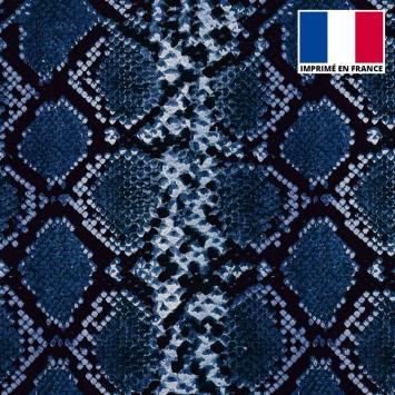 Maille scuba imprimée peau de serpent bleue