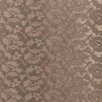 Simili cuir marron glacé relief fleur dentelle