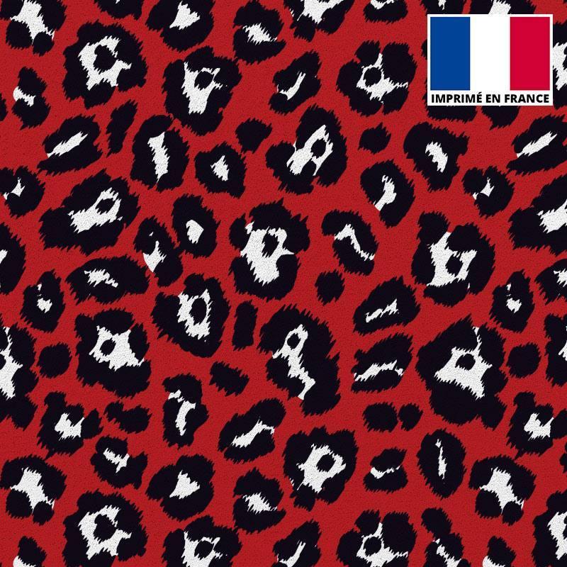 Gabardine stretch imprimé léopard rouge