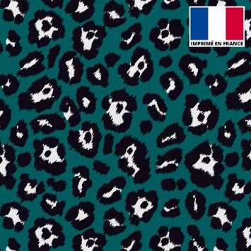 Tissu scuba imprimé léopard bleu canard