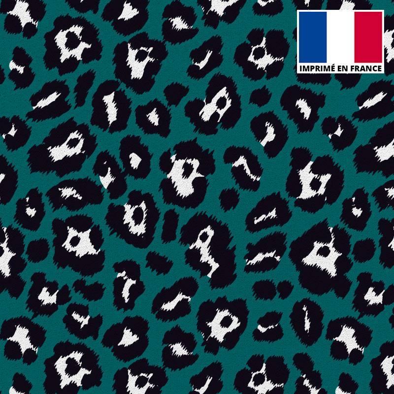 Tissu scuba imprimé léopard vert