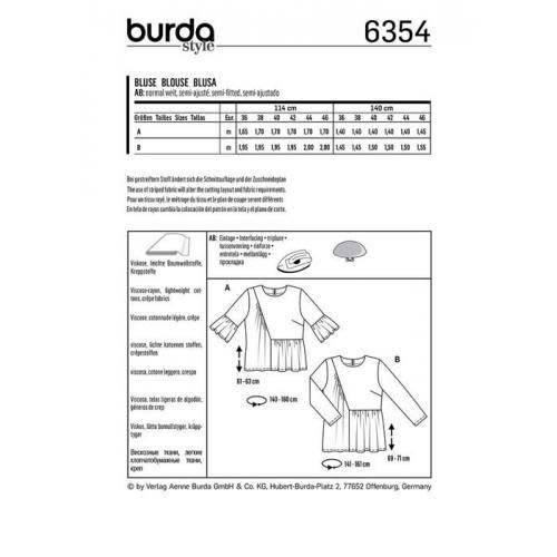 Patron Burda 6354 : Blouse Taille : 36-46