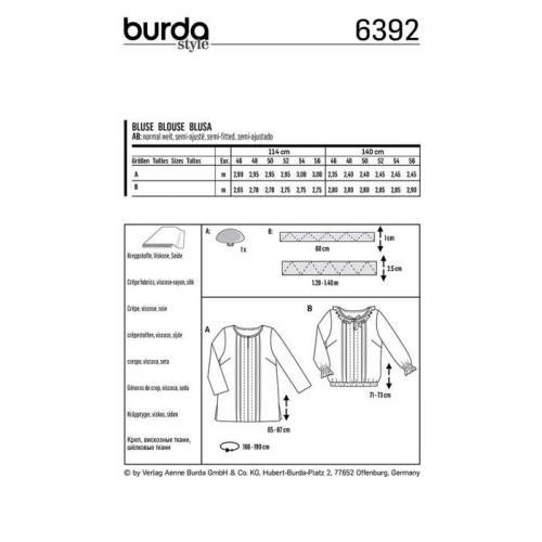 Patron Burda 6392 : T-shirt Taille : 46-56