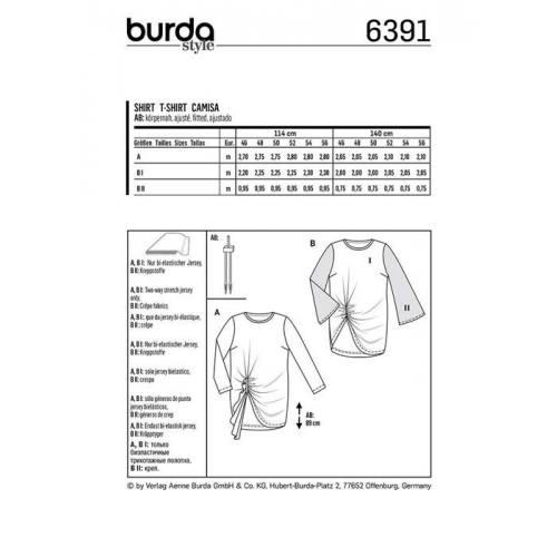 Patron Burda 6391 : T-shirt Taille : 46-56