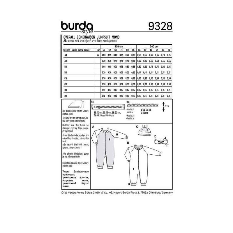 Patron Burda 9328 : Combinaison Taille : 56-86 cm