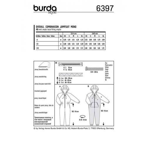 Patron Burda 6397 : Combinaison Taille : XS-XL