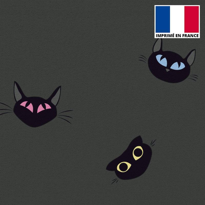 Tissu scuba vert imprimé chat dessin