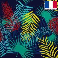 Velours ras bleu marine imprimé palme colorée