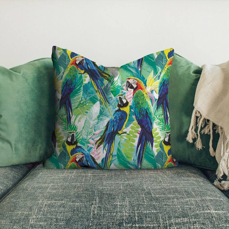 Velours ras imprimé jungle et perroquet