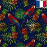 Velours ras bleu marine imprimé perroquet et fruit exotique brodé