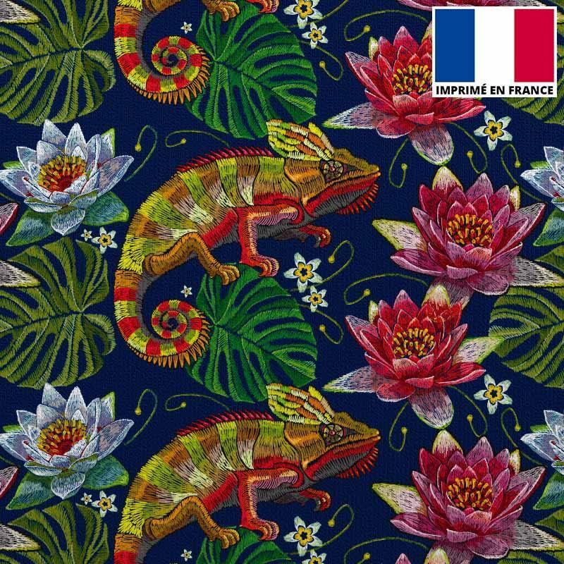 Velours ras bleu marine imprimé caméléon et fleur brodé
