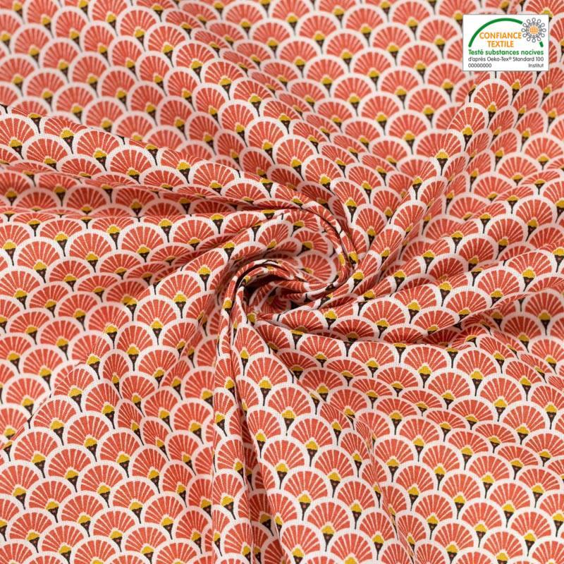 Coton imprimé éventail rouge vermillon et ocre