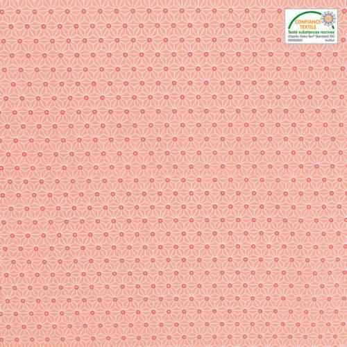 Coton saumon petit motif asanoha