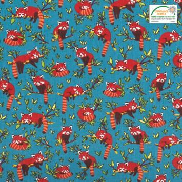 Coton bleu motif panda roux