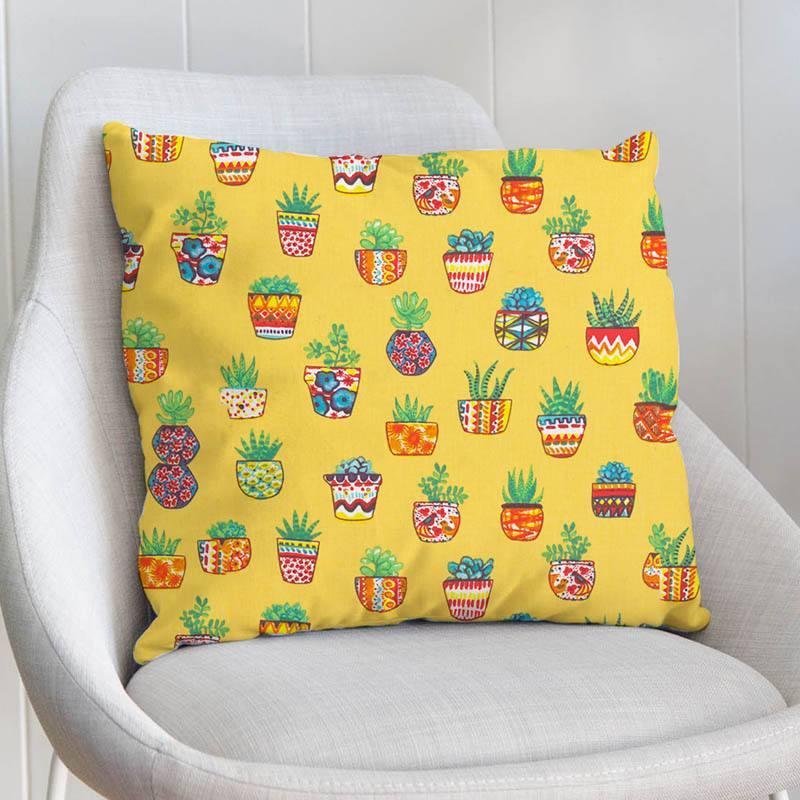 Coton jaune motif pot de plantes grasses