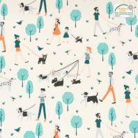 Coton écru motif promenade de chiens