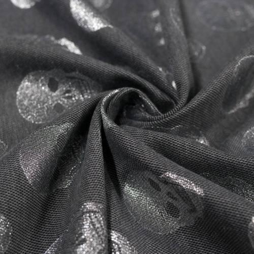 Jacquard gris tête de mort fil argenté