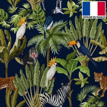 Velours ras bleu marine imprimé jungle et animaux