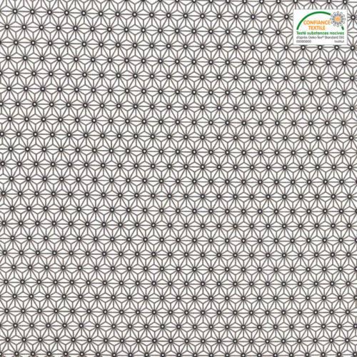 Coton blanc petit motif asanoha taupe