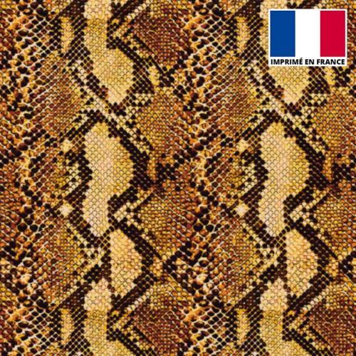 Tissu scuba imprimé peau de serpent jaune