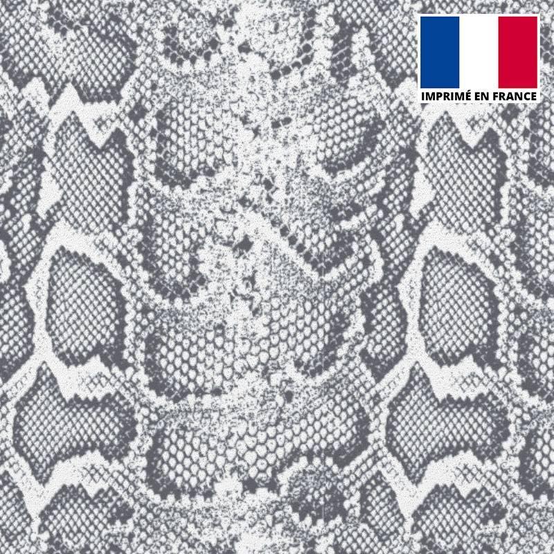 Tissu scuba imprimé peau de serpent gris
