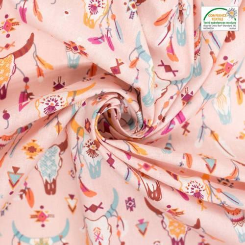 Coton rose motif tête de buffle
