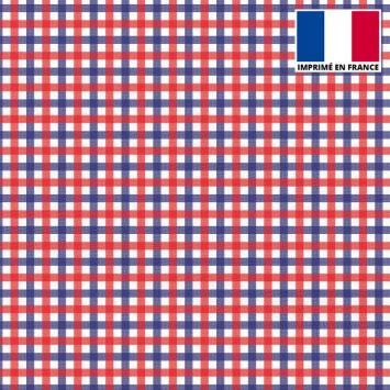 Mousseline crêpe imprimée carreau bleu blanc rouge