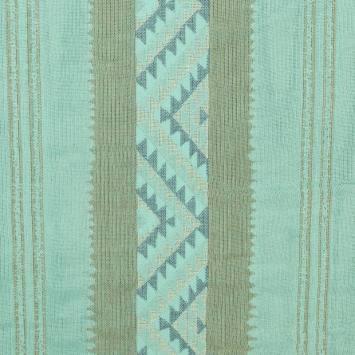 Jacquard à rayures ethniques turquoise et kaki