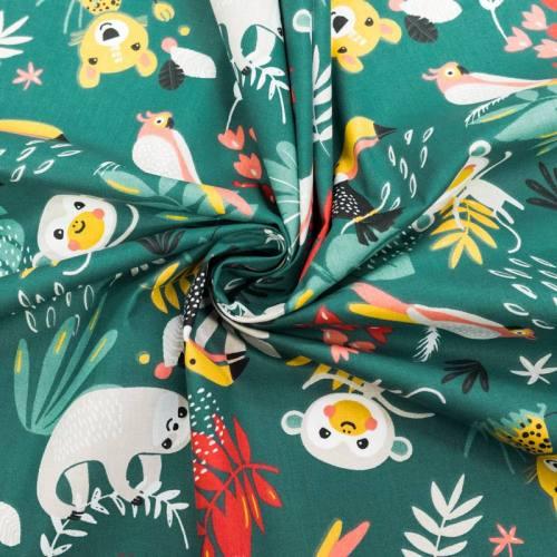 Coton vert motif oiseau et feuille tropicale papaya