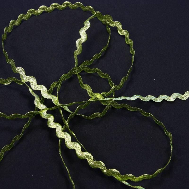 Croquet métalisé lurex vert, serpentine 6 mm zig-zag