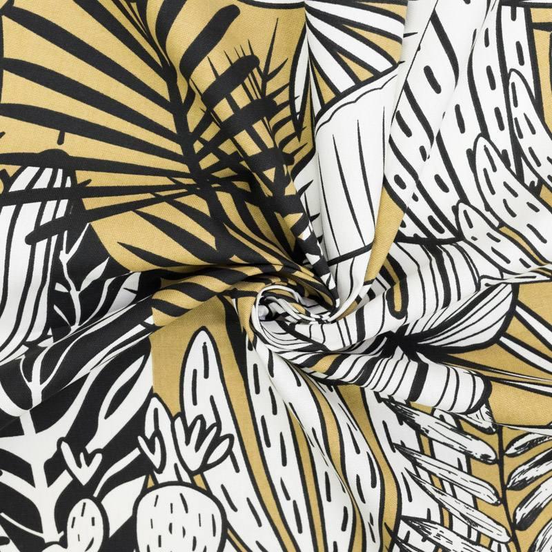 Toile coton bistre imprimée feuilles tropicales et cactus mango