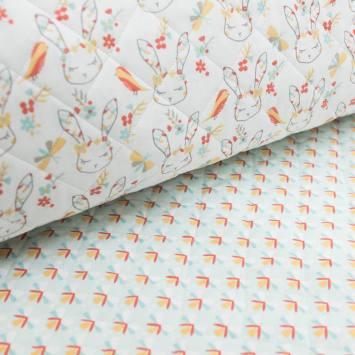 Tissu matelassé enfant réversible motif lapin cajoline