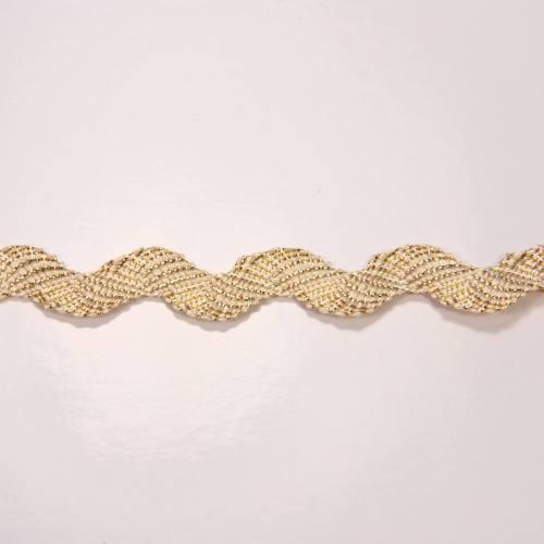 Croquet beige fils lurex doré, serpentine 1 cm zig-zag