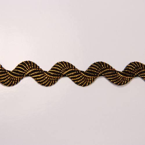 Croquet noir fils lurex doré, serpentine 1 cm zig-zag