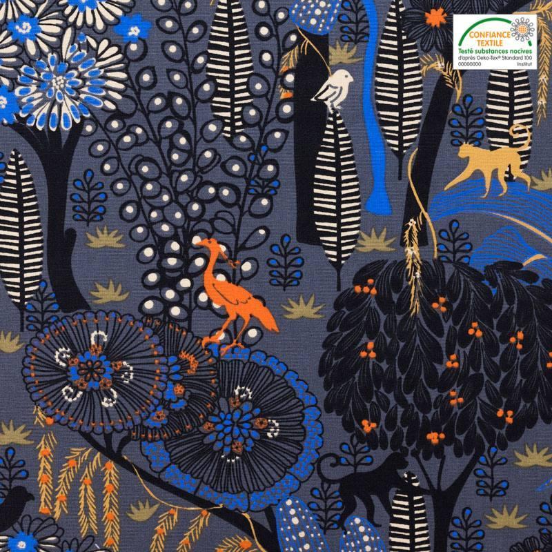 Toile coton grise imprimée jungle abstraite idaho