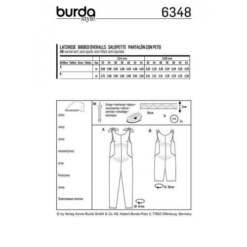 Patron Burda 6348 : Salopette Taille : 32-44