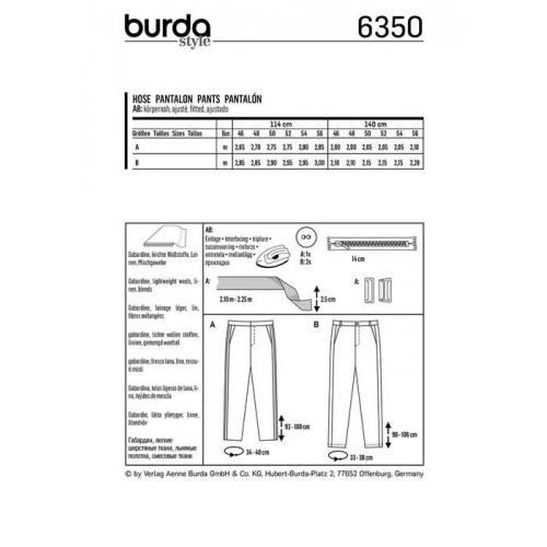 Patron Burda 6350 : Pantalon Taille : 46-56