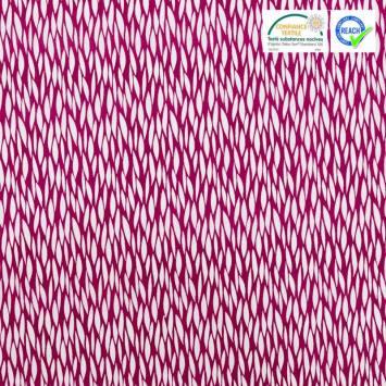 Coton rose framboise motif blé étiré blanc baria