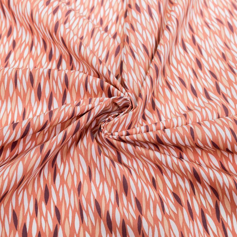 Coton rose saumon motif blé étiré blanc et prune badi