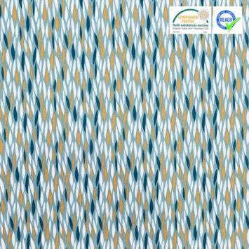 Coton vert de gris motif blé étiré blanc et ocre badi