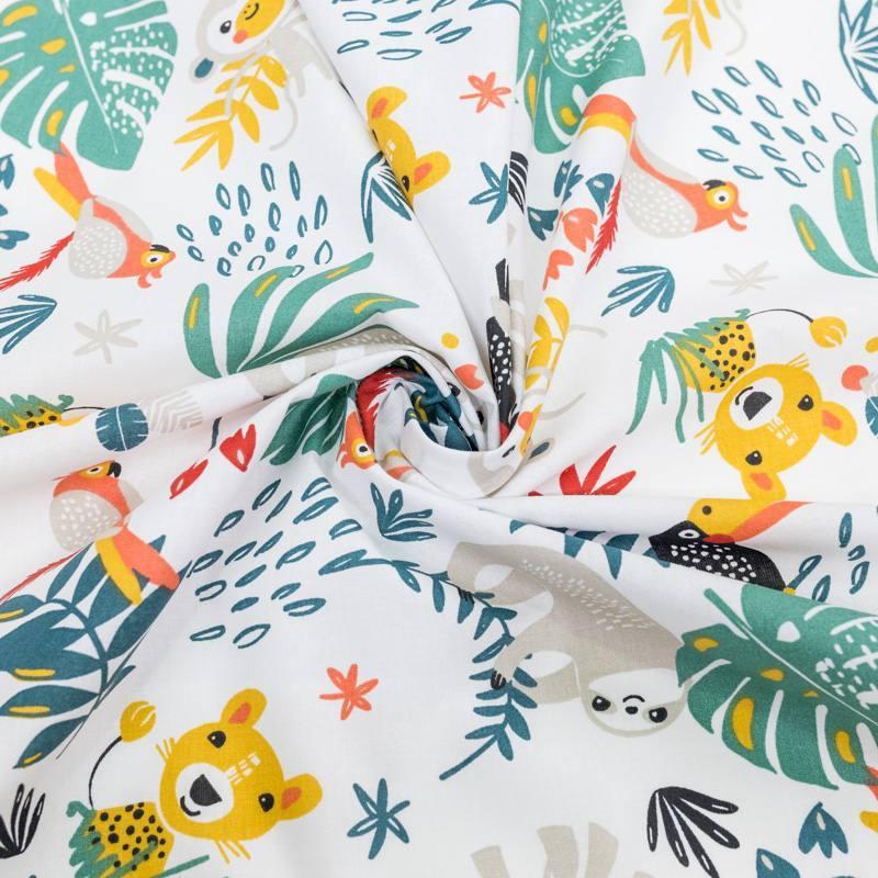 Coton blanc motif animaux de la jungle et feuille tropicale payadi