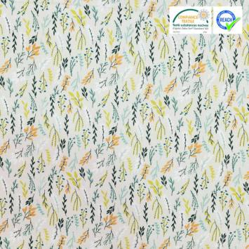Coton grège motif branches et feuilles vertes