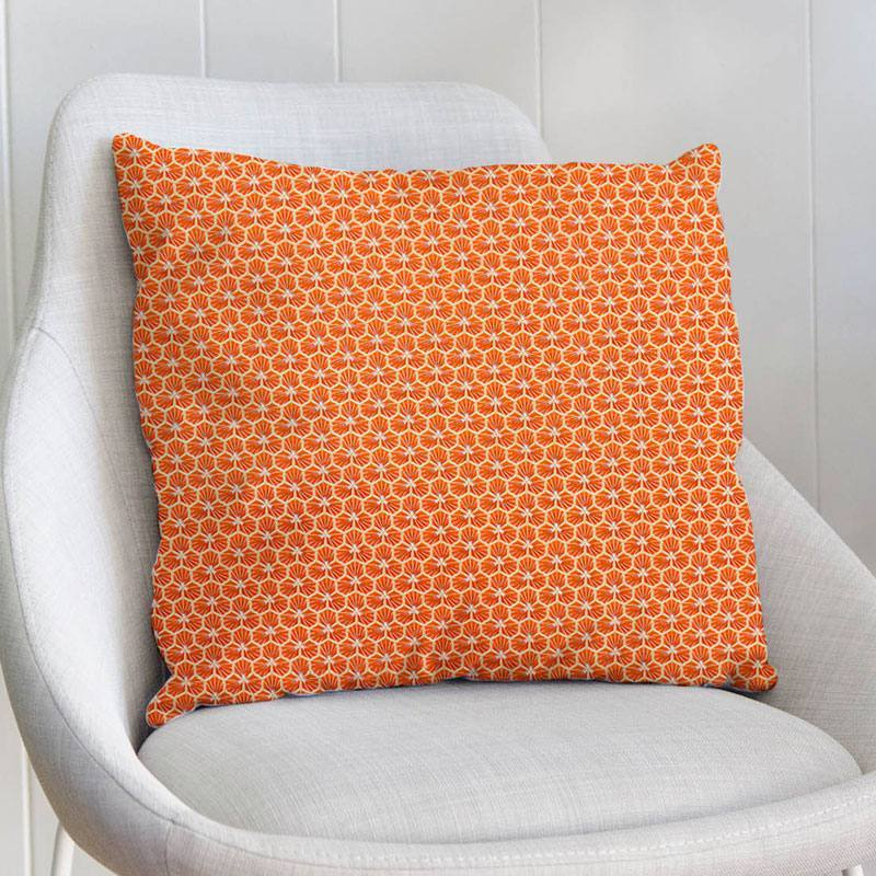 Coton orange motif trèfle