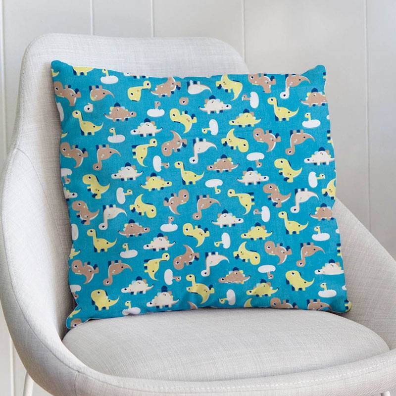 Coton bleu motif dinosaure minmi