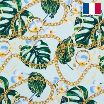 Satin bleu pastel imprimé jungle foulard