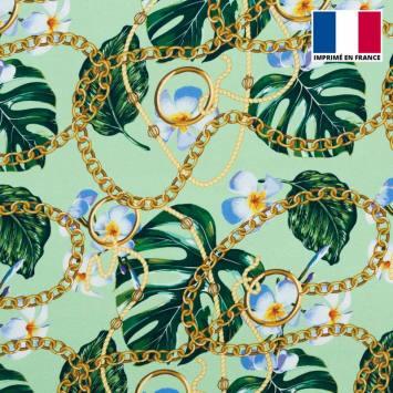 Satin vert pastel imprimé jungle foulard