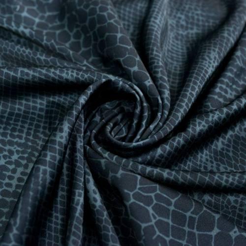 Satin anthracite et noir motif peau de serpent